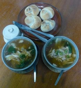 servant ceramics, chicken soup, fresh bread