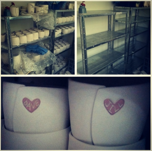 The shelves full, the shelves empty and two custom cups - a wedding gift!
