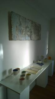 The sun sets in the gallery space - everything is set up and ready to welcome everyone come 10am Saturday!!