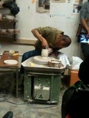 Tetsuya was throwing with Southern Ice Porcelain Clay - he said it was drier than he one he uses at home.