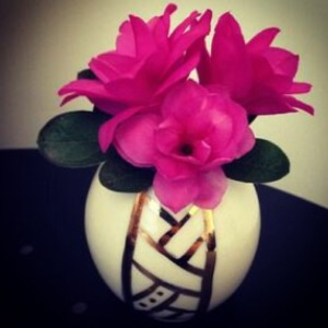 Spring has sprung! A couple of homegrown Brissy flowers in one of my gold bud vases - another customer photo!
