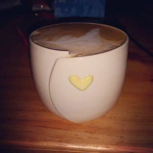 Here's one of my heart cups filled with a delicious latte from a NSW customer