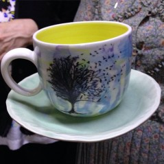 One of my favourite 'goodbyes' from the #brisstyletwilightmarket A yellow #janeausten mug teamed with the mint flared plate - perfection!!