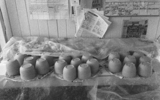 Mugs - thrown and turned, ready to be decorated and handled!
